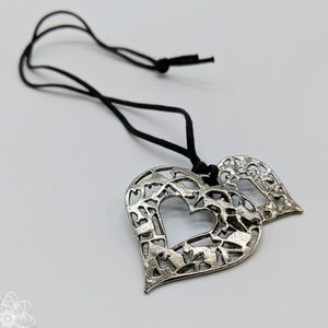 Jewelry - Silver Tone Double Heart Pendant on a Leather Cord